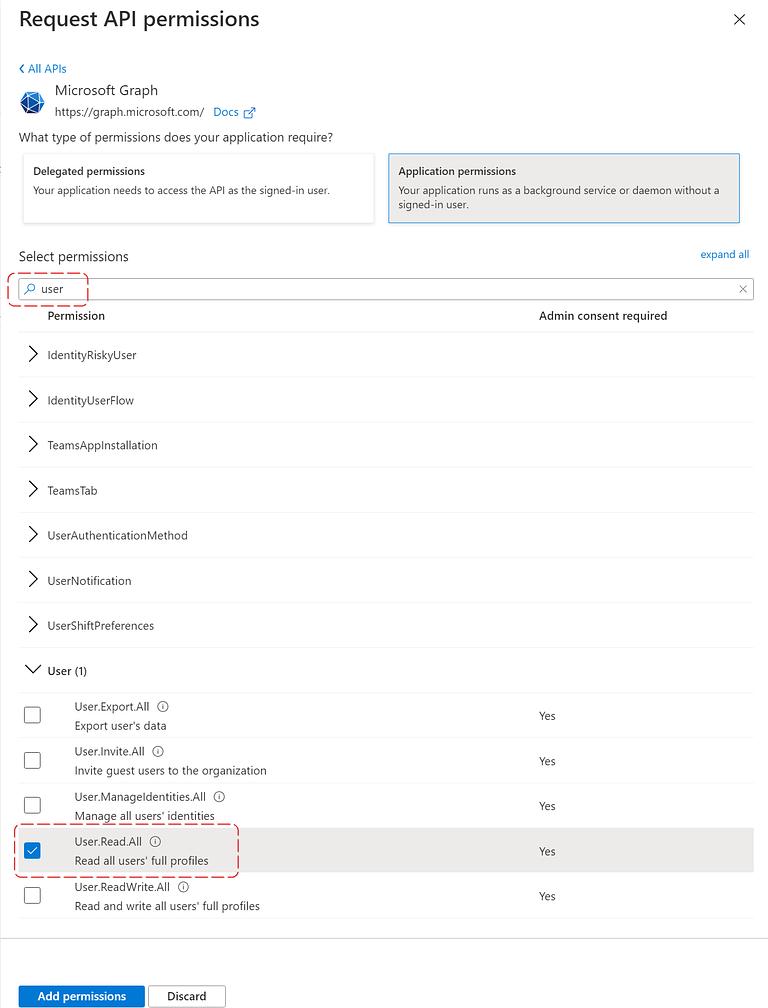 Azure AD Application Permissions