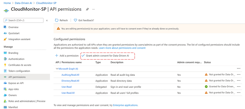 Grant Admin Consent for AD Users